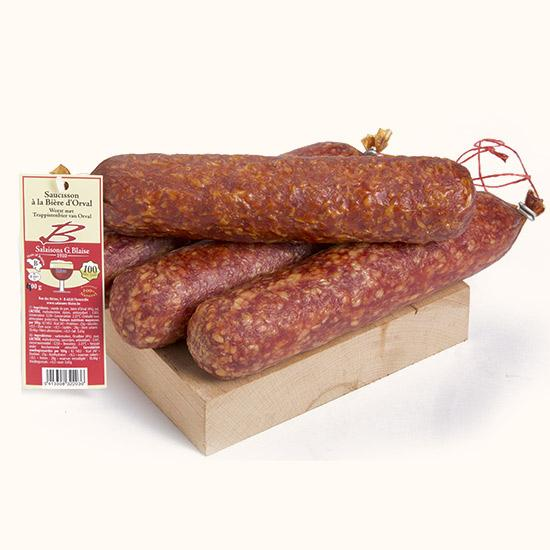 Sausage flavoured with Orval beer